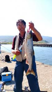 9月1日 浜益鮭釣り 五十嵐さん